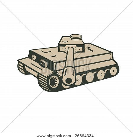 Retro Style Illustration Of A German World War Two Panzer Battle Tank Aiming Towards Viewer On Isola