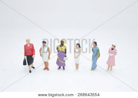 Close Up Of Mini People Isolated With