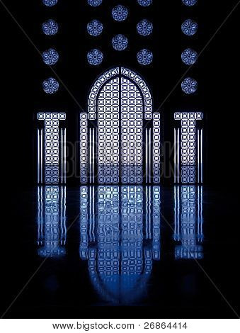 Blue Reflections Thru Glass Windows Framing Door Into Mosque