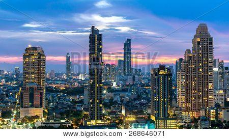 Night Of The Metropolitan Bangkok City Downtown Cityscape Urban Skyline  Thailand  - Cityscape Bangk