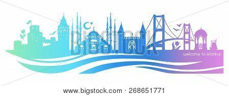 Istanbul Symbols. Vector Panoramic Illustration Of Famous Turkish Landmarks. Horizontal Skyline Silh