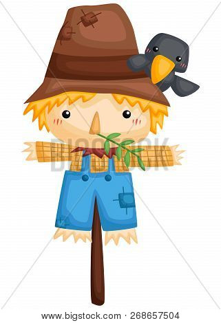 A Vector Of A Cute Scarecrow With A Tiny Crow