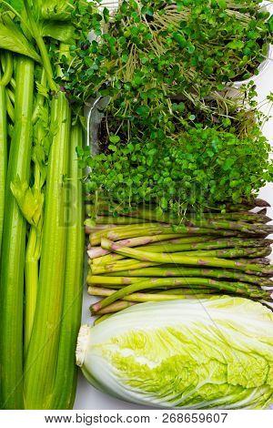 Vegan, Vegetarianism, Healthy Food, Green Sprouts, Celery Broccoli Asparagus