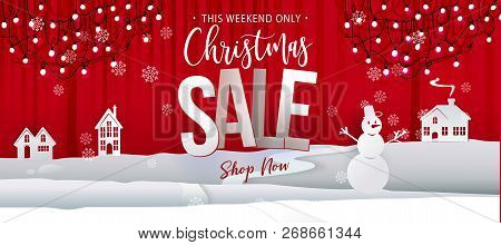 Christmas Sale Offer Banner. Paper Art Cut Out Background Graphics Business Offer With Garland Light