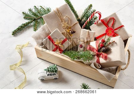 Gift Boxes With A Red Thread. Handmade New Year Gifts. Christmas Presents. Christmas Background With