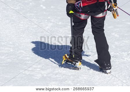 Crampons For Ice Climbing Mounted On Hanwag Omega Mountaineering Boots