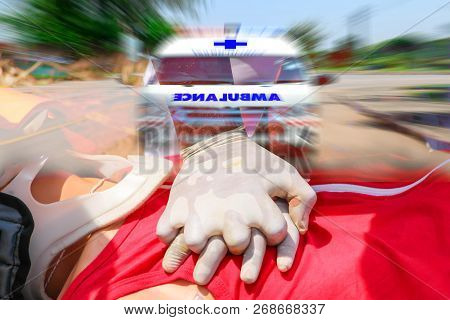 Double Exposure Of Rescuer Cpr, Training For Safe Life, First Aid, Ambulance Speeding To Accident, E
