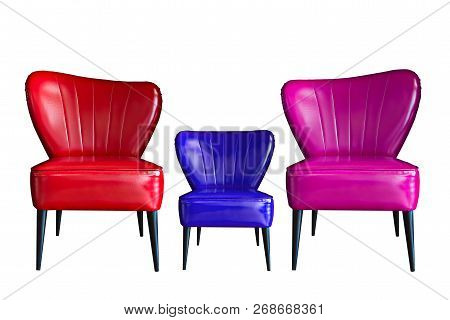 Isolated Of Red Blue Pink Or Violet Leather Chair On White Background For Family.