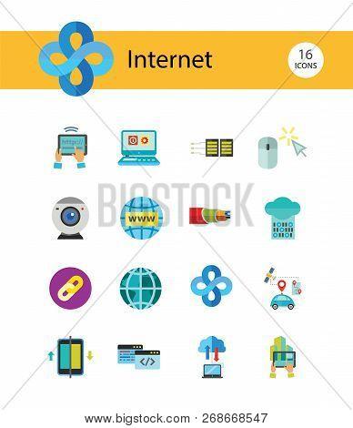 Internet Icon Set. Web Camera Mouse Synchronization Data Flow Hyperlink Internet Sign Tablet Interne