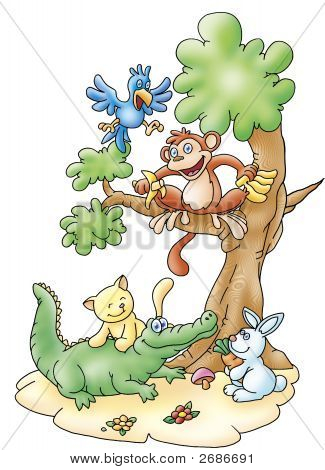 happy animal friends playing in the forest poster