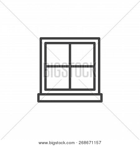 Window Frame Outline Icon. Linear Style Sign For Mobile Concept And Web Design. Window With Glass Pa