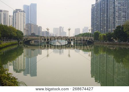 Foggy Day On The River In The City Of Chengdu. China.