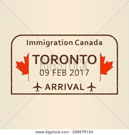 Toronto Passport Stamp Travel By Plane Visa Or Immigration Vector Illustration