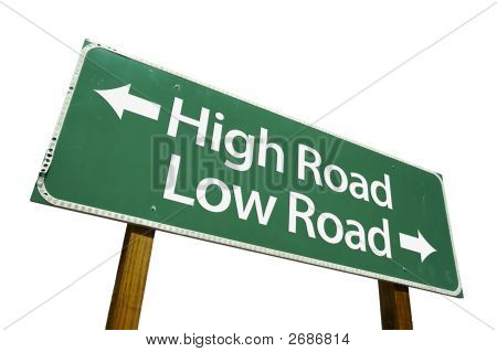 High Road Low Road - road sign isolated on a white background. Contains Clipping Path. poster