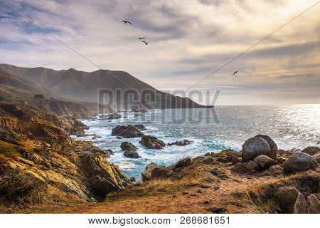 Coastline Scenery On Pacific Coast Highway Near Big Sur In California, Usa