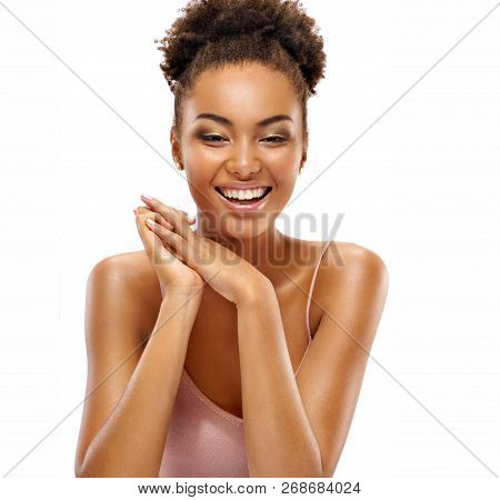 Young Pretty Girl With Naturarl Makeup. Photo Of Happy Smiling African Girl Isolated On White Backgr