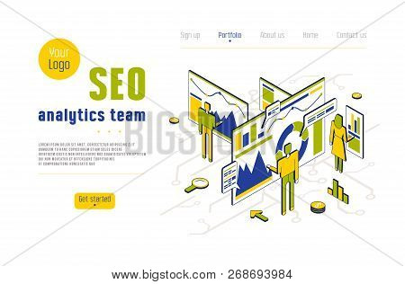 Stock Vector Seo Analytics Team. Concept Of Landing Page In Flat Design Isometric Style For Website
