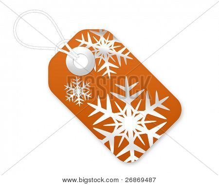 Christmas Gift Tag With Snowflakes In Burnt Orange