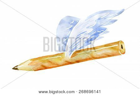 Pencil With Wings. Watercolor Isolated From The Background