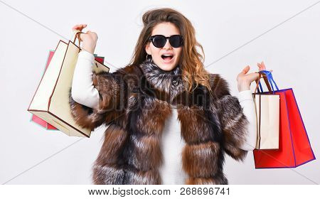 Woman Shopping Luxury Boutique. Girl Wear Sunglasses And Fur Coat Shopping White Background. Lady Ho