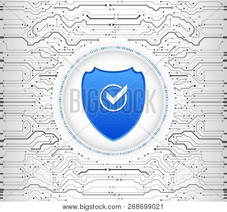 Abstract High Tech Circuit Board. Security Shield Concept. Internet Security. Vector Illustration Di