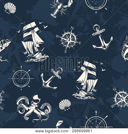 Vintage Sea And Nautical Seamless Pattern With Sailing Ship Navigational Compass Wheel Octopus Lobst