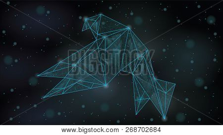Abstract  Polygonal wireframe Low poly mesh origami paper bird  ,consisting of points lines, shapes,dots, stars.On blue night sky dark background, poster