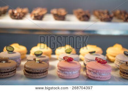 Dessert Buffet With A Macaroons, Close Up. Wedding Candy Concept.
