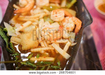Shrimp With Curry Thai Called Gang-som, Thai Food