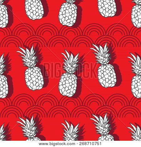 Pineapple Groove-fruit Delight. Seamless Repeat Pattern Illustration.background In Red White And Gre