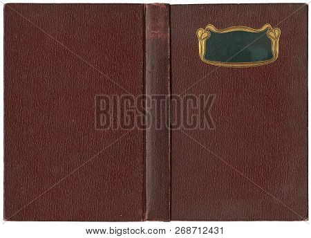 Old Open Book Cover - Canvas - Circa 1904 - Art Nouveau - Isolated On White - Perfect In Detail! - X