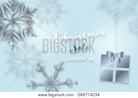 Christmas Time. Background With Snowflakes And Christmas Gift. Text : Christmas Sale