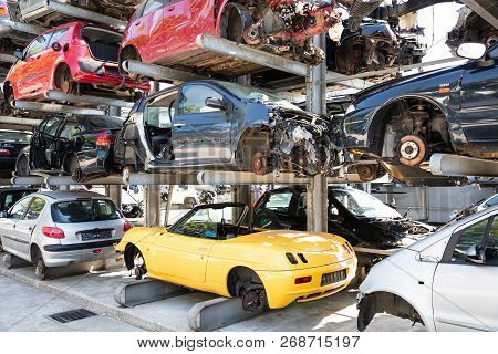 Recycling Of Old,used, Wrecked Cars. Dismantling For Parts At Scrap Yards