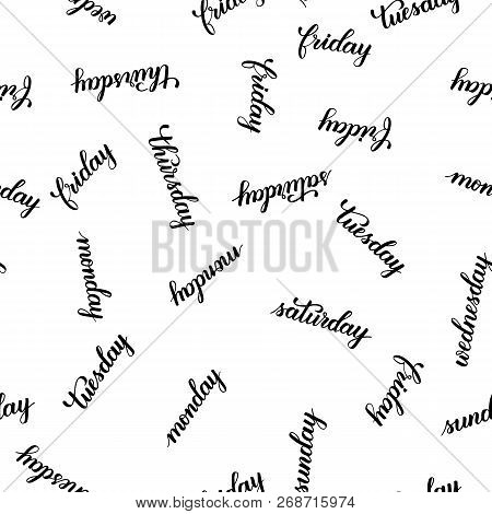 Days Of The Week Weekdays And Weekend Modern Brush Calligraphy Seamless Isotated On A White Backgrou