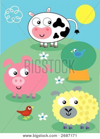 Funny Vector Cartppn Farm Animals