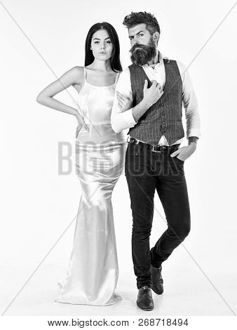 Bearded Hipster With Bride Dressed Up For Wedding Ceremony. Wedding Concept. Woman In Wedding Dress