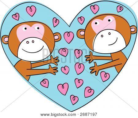 Two Cute Monkeys In Love