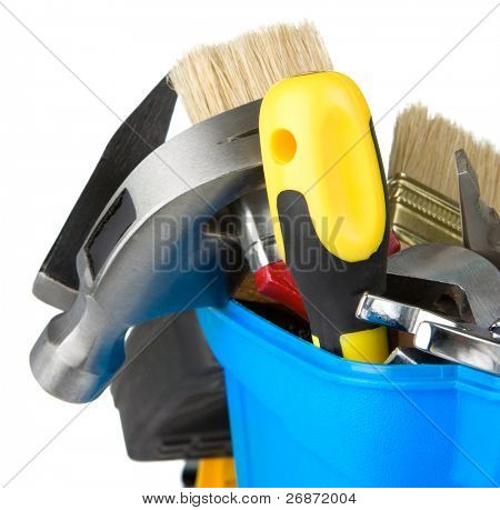 set of tools in toolbox isolated on white background