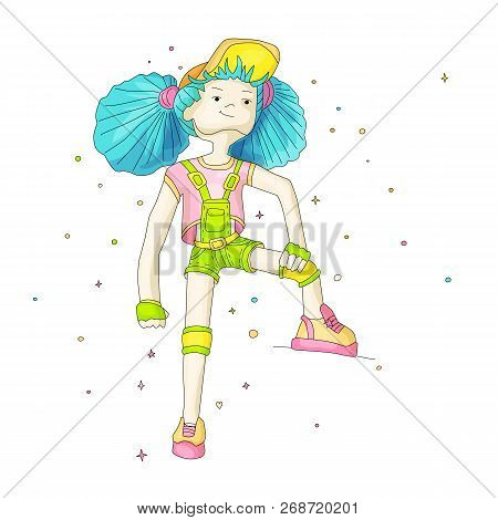 Young Girl With Blue Hair In Baseball Cap And Overalls, Vector Cartoon Hand Draw Illustration. Teena