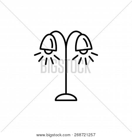 Vector illustration of tree floor lamp. Line icon of 2 light torchiere. Standing light fixture. Home & office lighting. Isolated object on white background. poster