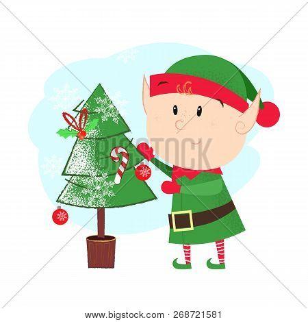 Cartoon Christmas Elf Postcard Element Design. Illustration Of Elf In Green Costume Decorating Fir T