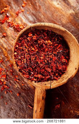 Chili  flakes. These unique dried chilies crushed and cured in coarse flakes