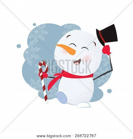Funny Snowman Poster Design. Drawing Of Snowman In Black Cylinder Hat Holding Candy Cane. Can Be Use