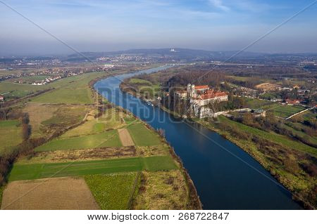 Aerial View Of Tyniec Benedictine Abbey, Vistula River, Cracow And Silver Mount With Camaldolese Her