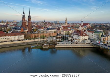 Opole, Aerial View Of Old Town. Poland, Autumn Day. Drone  Shot.