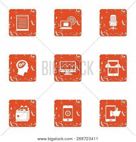 Mobile Phone Technology Icons Set. Grunge Set Of 9 Mobile Phone Technology Icons For Web Isolated On