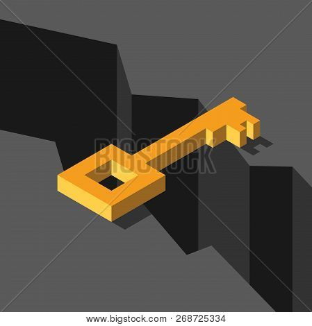 Isometric Gold Key Above Abyss. Bridging The Gap, Solution And Challenge Concept. Flat Design. Vecto