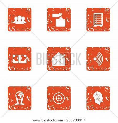 Money Tour Icons Set. Grunge Set Of 9 Money Tour Icons For Web Isolated On White Background