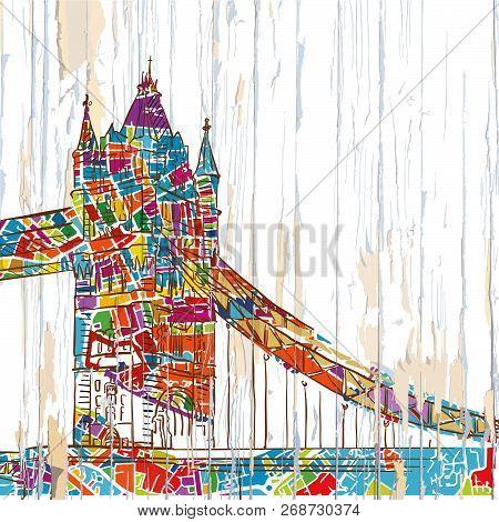 London Tower Bridge Drawing. Hand-drawn Vector Vintage Illustration.