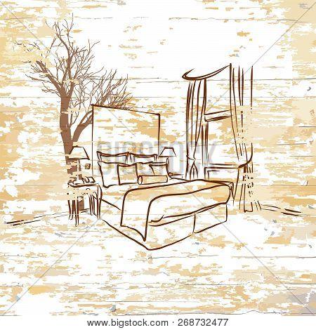 Vintage Hotel Room On Wooden Background. Hand-drawn Vector Vintage Illustration.